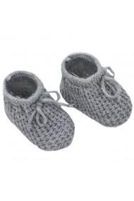 Botosei crosetati gri cu model pentru bebelusi