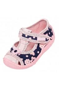Pantofiori bleumarine cu roz fetite