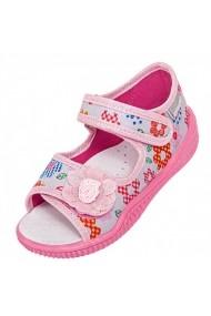 Sandale gri cu floricele colorate