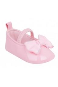 Pantofiori roz din lac cu fundita pentru bebelusi