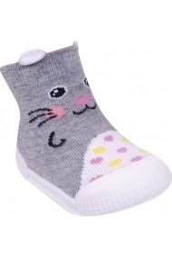 Mocasini fetite YO! cu talpa antiderapanta Happy Kitty OB-101-Multicolor