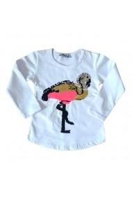 Bluzita alba cu paiete schimbatoare - Flamingo