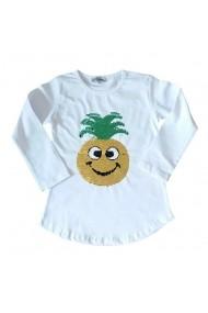 Bluzita alba cu paiete schimbatoare - Ananas