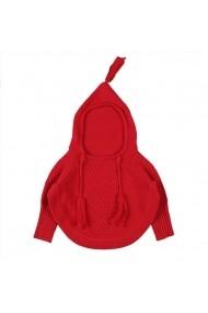 Pulover rosu pentru bebelusi stil poncho