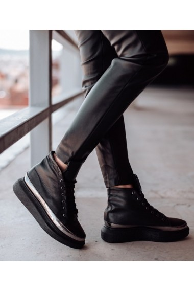Sneakers Bigiottos din piele naturala neagra BGT-6384-negru