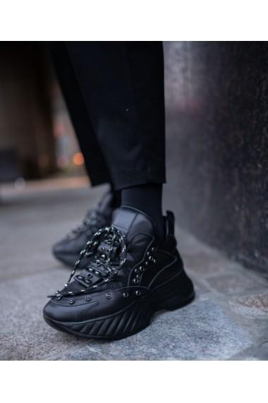 Sneakers Bigiottos din piele naturala neagra BGT-083-negru