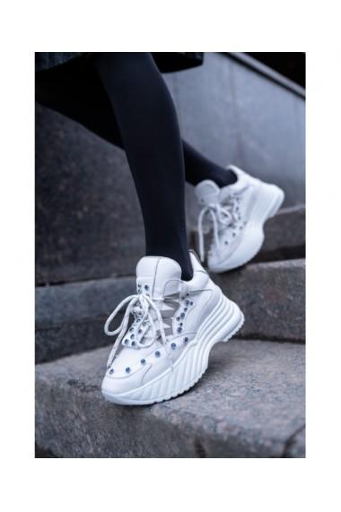 Sneakers Bigiottos din piele naturala alba BGT-083-alb