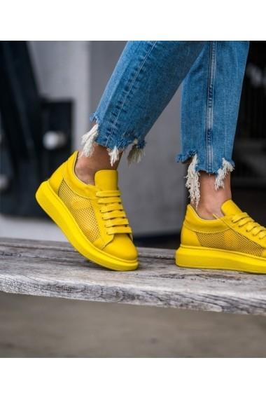 Sneakers dama Bigiottos piele naturala BGT-6463-galben