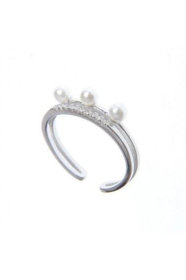 Inel deschis din argint cu perle acrilice