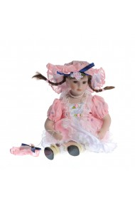 Papusa portelan cu rochita roz