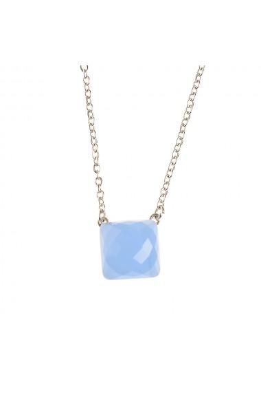 Colier otel cu piatra fatetata bleu