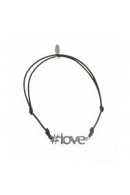 Bratara neagra pandantiv argint #LOVE