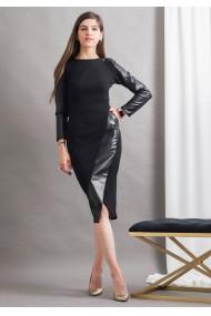 Rochie conica cu aplicatii din piele