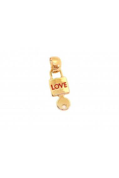 Pandantiv in forma de lacatel si cheie placat cu aur Love