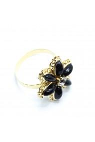 Inel cu floare mare pentru femei placat cu aur Strategy