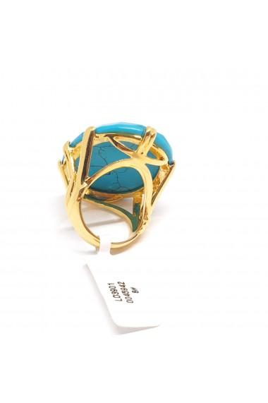 Inel cu piatra mare placat cu aur Turquoise Blue