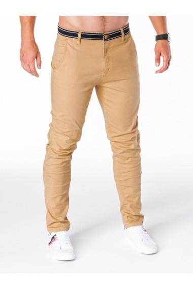 Pantaloni pentru barbati bej slim fit casual elastici  p156