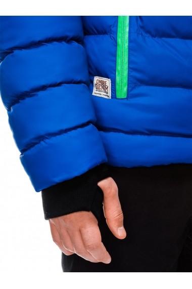Geaca pentru barbati albastru ideal ski de iarna cu gluga fermoar si nasturi model slim  C124
