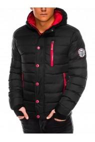 Geaca pentru barbati negru ideal ski de iarna cu gluga fermoar si nasturi model slim  c124