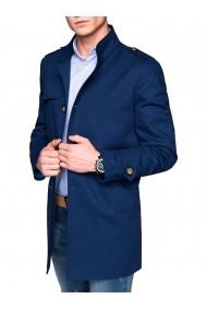 Trench pentru barbati albastru stil palton elegant nasturi casual slim fit  C269