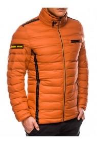 Geaca pentru barbati portocaliu impermeabila fermoar model slim buzunar piept  c359