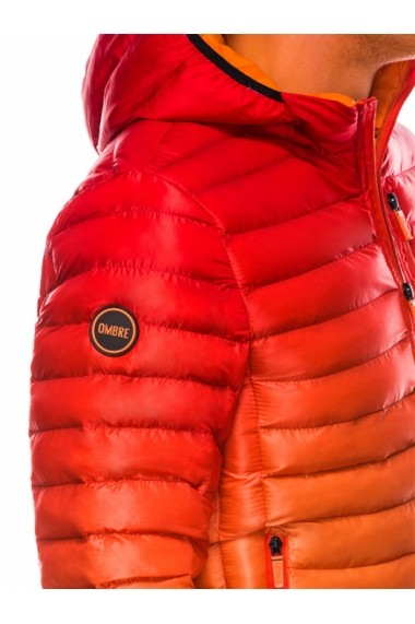 Geaca pentru barbati rosu impermeabila fermoar model slim gluga fixa c319
