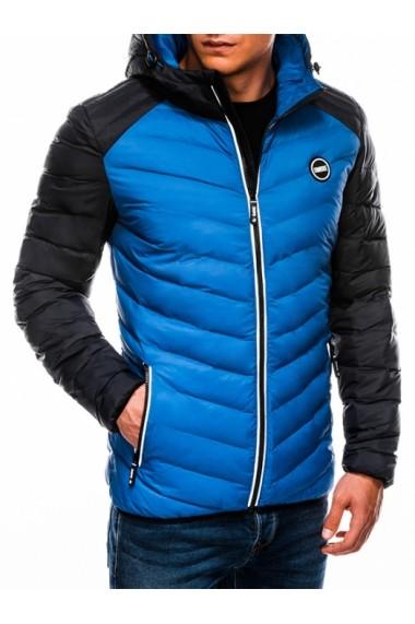 Geaca pentru barbati albastru impermeabila fermoar model slim gluga fixa  c366