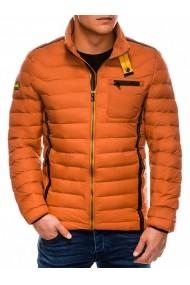 Geaca pentru barbati portocaliu impermeabila fermoar model slim  c292