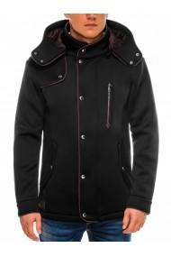 Jacheta pentru barbati negru stil palton nasturi si fermoar casual slim fit  C200
