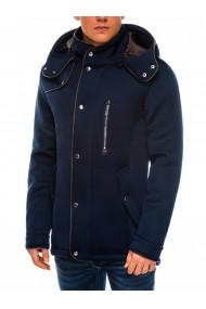 Jacheta pentru barbati bleumarin stil palton nasturi si fermoar casual slim fit  C200