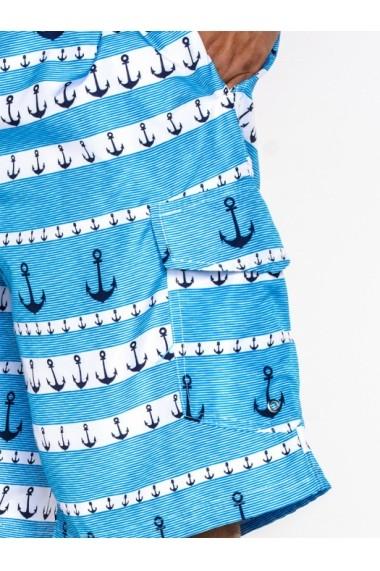 Sort de baie pentru barbati din fas de vara model ancore buzunare laterale  W029 bleu