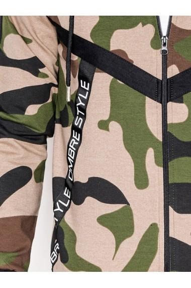 Hanorac pentru barbati camuflaj verde stil militar army fermoar drept cu gluga buzunare laterale siret sport  B775