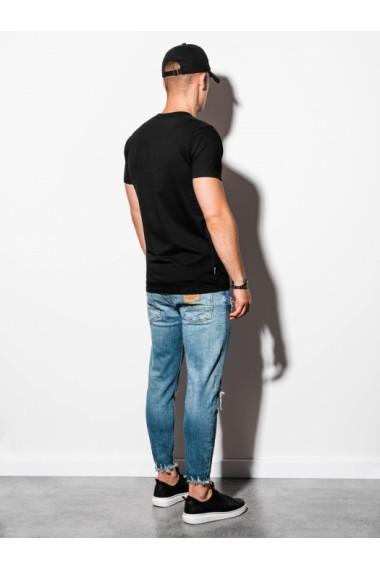 Tricou barbati negru simplu slim fit mulat pe corp bumbac  S884