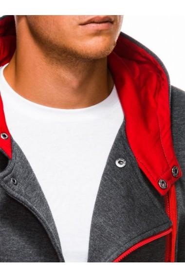 Hanorac pentru barbati gri inchis rosu fermoar lateral oblic cu gluga buzunare laterale siret sport  B297
