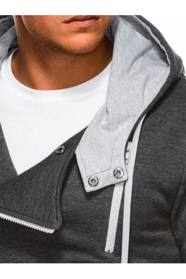 Hanorac pentru barbati gri inchis fermoar lateral oblic cu gluga buzunare laterale siret sport  B297