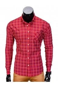 Camasa pentru barbati  rosu  in carouri mari  slim fit  elastica  casual  cu guler  buzunar piept - k390