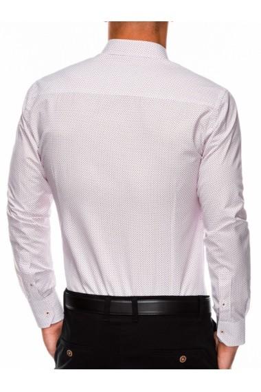 Camasa eleganta barbati K468 - alb-rosu