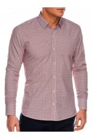 Camasa eleganta barbati K471 - alb-rosu