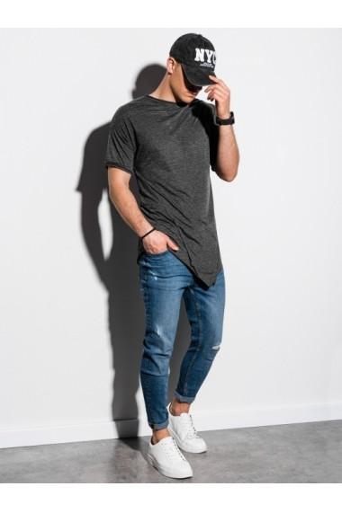 Tricou barbati S1216 - gri-inchis