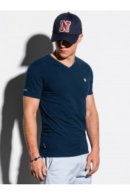 Tricou slim fit barbati S1183 - bleumarin