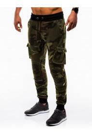 Pantaloni barbati de trening camuflaj verde slim fit sport street model nou - P747