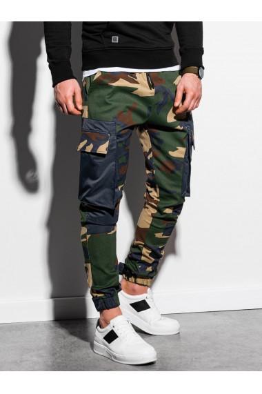Pantaloni joggers barbati P998 - camuflaj-verde