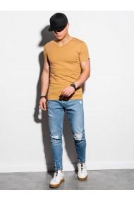 Tricou simplu barbati S1369 - mustar-melanj