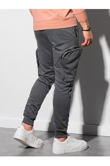 Pantaloni barbati - P918 - gri-inchis