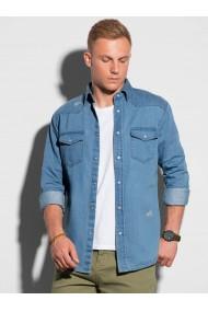 Camasa slim fit barbati K567 - albastru