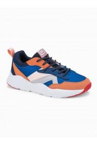 Sneakers casual barbati T368 - albastru portocaliu