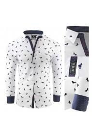 Camasa pentru barbati alba slim fit elastica casual cu guler - mustang