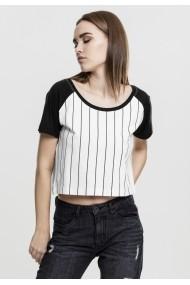 Bluza scurta basebal pentru Femei alb-negru Urban Classics