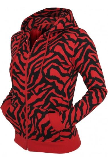 Hanorac dama cu model zebra cu fermoar