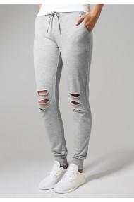 Pantalon casual cu taieturi la genunchi pentru Femei gri Urban Classics